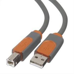 Cablu Belkin, USB USBA/USBB, 0.9m, CU1000CP0.9M, Male-Male, gri-oranj