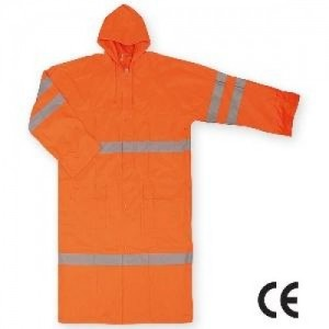 Imbracaminte de Protectie Impermeabila: Pelerina de ploaie, din poliester peliculizat cu benzi reflectorizante (portocalie) TRINIDAD