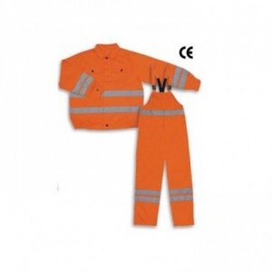 Imbracaminte de Protectie Reflectorizanta: Costum salopeta cu pieptar din BBC 100%, 300 g/mp, cu benzi reflectorizante FILIP
