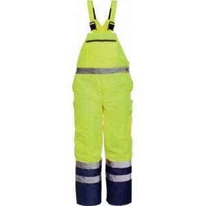 Imbracaminte de Protectie Reflectorizanta: Pantalon cu pieptar impermeabil de iarna reflectorizant (galbena) DENMARK