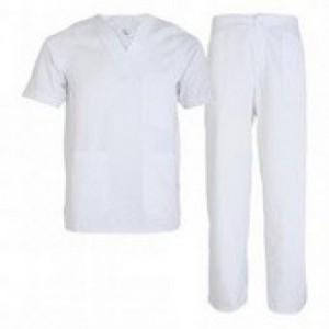 Imbracaminte de Protectie Alba: Costum alb din tercot, medic MEDA