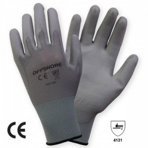 Manusi de Protectie Impregnate tricotate nylon, cu aplicatii din poliuretan pe palma FLEXIGREY, gri