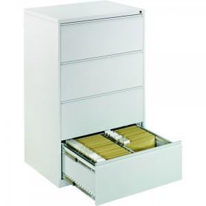Clasificator metalic dublu Ceha 84 x 62 x 133 cm cu 4 sertare si inchidere centralizata gri