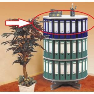 Nivel suplimentar coloana rotativa pentru bibliorafturi, Ceha, pal gri, 80x36(H) cm, margini de protectie din PVC, prinderi metalice