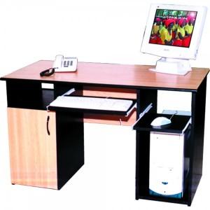Masa calculator 2 polite culisante 120 x 60 x 75 cm stejar cu negru mat