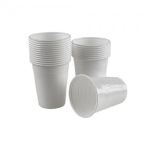 Pahare plastic albe 200ml, 100/set