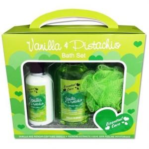 Set cadou Essential Care Pistachio & Vanilla: Gel de dus, 250 ml + Lotiune de corp, 150 ml + Burete floare