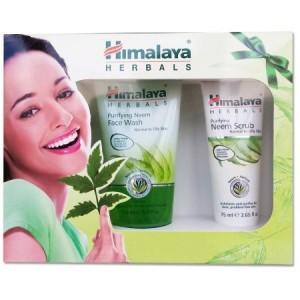 Set cadou Himalaya Herbals: Gel pentru curatarea fetei cu Neem, 50 ml + Exfoliant Neem + Sapun Neem si Turmeric, 75 g
