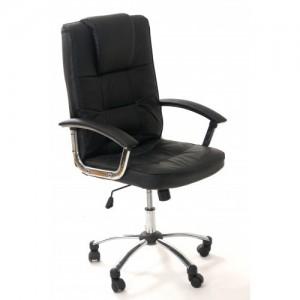 Scaun de birou Office OMT8983N, piele naturala si brate si suport metalic-cromat