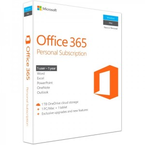 Microsoft Office 365 Personal, Subscriptie 1 an, 1 PC/MAC si 1 tableta, Engleza, Retail