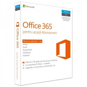Microsoft Office 365 Home, Subscriptie 1 an, 5 Useri, Romana, Medialess